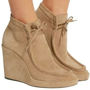 Auth Balenciaga Suede Wedge Tan Tie Ankle Boots